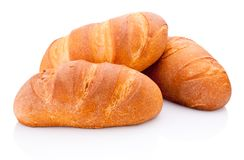 Three loaf of bread on white background. Three loaf of bread on a white background stock images