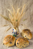 Three loaves of olive bread Stock Photos