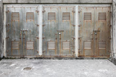 Three locked metal gate Royalty Free Stock Images