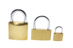 Three Locks. On White Background royalty free stock photography