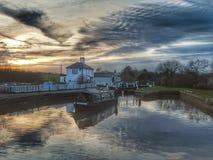 Three locks pub at sunset stock image