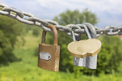 Three locks on a thick galvanized chain Royalty Free Stock Images