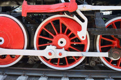 Three locomotive wheels. Close-up Stock Photo
