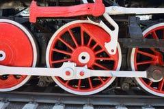 Three locomotive wheels Stock Photo