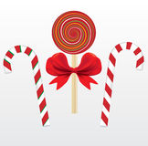 Three lollipops. Sweet with ribbon Royalty Free Stock Images