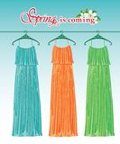 Three long spring party dresses on a hanger.Fashio Royalty Free Stock Photo