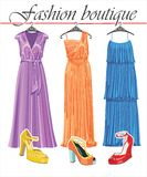 Three long summer silk dresses with shoeses.Fashio Royalty Free Stock Photo
