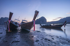 Three long tail boat. At Pak Meng Pier in the twilight time, Trang Province, Thailand Stock Photography