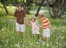 Three Looking. Three sibling children holding hands together in nature and looking at the ground Royalty Free Stock Photography