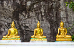 Three Lord Buddha statue in the cave Thailand Royalty Free Stock Images