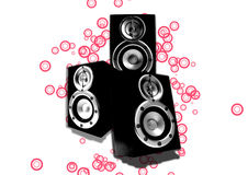 Three loudspeaker with red circles Royalty Free Stock Photography