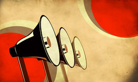 Three loudspeakers on vintage background Stock Photography