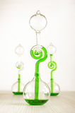Three love thermometers isolated. Chemistry science and experiment with green liquid thermometer Royalty Free Stock Image