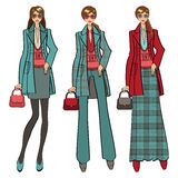 Three lovely trendy girls. Fashion Illustration Royalty Free Stock Photos