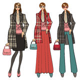 Three lovely trendy girls. Fashion Illustration Royalty Free Stock Photography