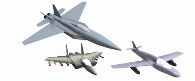 Three low-poly 3D models of combat aircraft Stock Photography