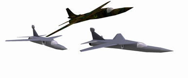 Three low-poly 3D models of combat aircraft Royalty Free Stock Photo