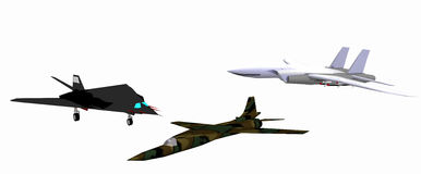 Three low-poly 3D models of combat aircraft Royalty Free Stock Photography