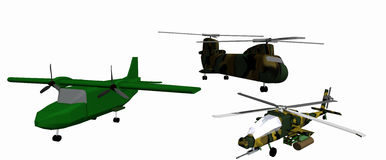 Three low-poly 3D models of combat helicopters Royalty Free Stock Image