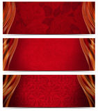 Three Luxury Banners. Set of three luxury banners or headers with red floral texture and blurred waves Royalty Free Stock Image