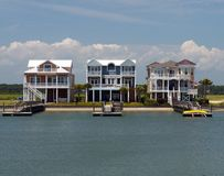 Three luxury beach houses Royalty Free Stock Images