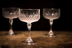 Three luxury crystal cocktail glasses Stock Images