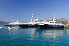 Three luxury yachts Stock Photo