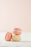 Three Macaron in a stack Stock Images
