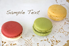 Three macarons with sample text Stock Photos