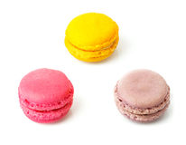 Three macaroons sweet desserts Royalty Free Stock Images