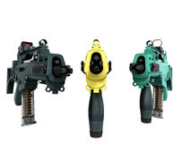 Three machine look at the goal and the concept of offensive atta. Cks 3d render on a white background image Stock Photo