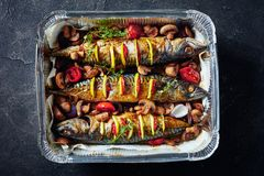 Three mackerel in a baking pan, close up. Three whole broiled mackerel with lemon, tomatoes, mushrooms, spices and herbs. scomber baked in Aluminum Baking Pan stock image