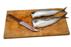Three mackerel without head on a wooden Board  Stock Photo