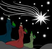 The Magi come to Jesus by following the shooting s Royalty Free Stock Images