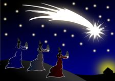 The Magi come to Jesus by following the shooting s Stock Photography