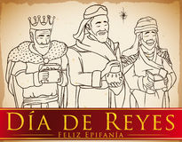Three Magi in Hand Drawn Style Celebrating `Dia de Reyes`, Vector Illustration Royalty Free Stock Photos