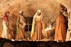 Three Magi and Jesus Christ scene Stock Images