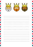 Three Magi letterhead. Illustration of the Three Magi letterhead on lined page with blue and red border Royalty Free Stock Photography