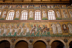 Three magi offer gifts to the virgin in Sant Apollinare Nuovo in Stock Photography