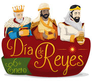 Three Magi over Sign for `Dia de Reyes` or Epiphany, Vector Illustration Royalty Free Stock Photo