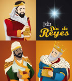 Three Magi and Star for `Dia de Reyes` or Epiphany, Vector Illustration Royalty Free Stock Photo