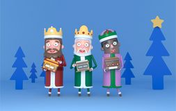 Three Magic King standing on a blue scene with trees. Isolated. 3d illustration stock photos