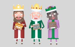 Three Magic King standing. Isolated.3d illustration. stock image