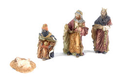 Three Magic Kings. Ceramic nativity figure of Magic kings - Christmas culture Royalty Free Stock Photos