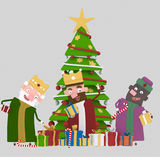 Three Magic Kings  and Christmas tree. 3D Royalty Free Stock Images