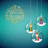 The three magic kings. Happy Epiphany written in Spanish. The three magic kings in Christmas decoration ball. Happy Epiphany written in Spanish Royalty Free Stock Images