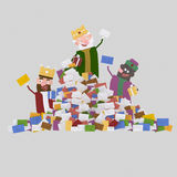 Three Magic Kings  and heap of letters. 3D Royalty Free Stock Images