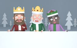 Three magic kings holding a big white placards in a grey forest.. 3d illustration. stock photo