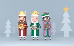 Three Magic Kings holding a placard with Greetings.3d illustration. stock images