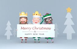 Three Magic Kings holding a placard with Greetings.3d illustration. stock photos